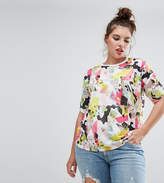 Asos T-Shirt with Ruched Sleeve Detail in Abstract Print