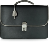 Pineider City Chic Gray and Black Fabric & Leather Briefcase
