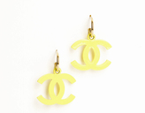 Chanel Lime CC Drop Pierced Earrings
