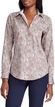 Chaps Petite No-Iron Paisley-Print Cotton Shirt