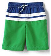 Lands' End Boys Husky Colorblock Stripe Swim Trunks-Rich Magenta