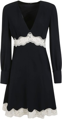 Miu Miu Laced Waist V-neck Dress