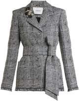 Erdem Jacey crystal-embellished checked jacket