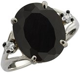 Gem Stone King 4.18 Ct Oval Black Onyx and White Topaz 14k White Gold Ring