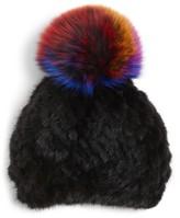 Jocelyn Women's Genuine Mink Fur Beanie With Genuine Fox Fur Pompom - Black