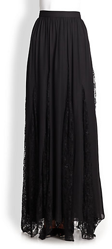 Alice + Olivia Louie Lace-Panel Maxi Skirt