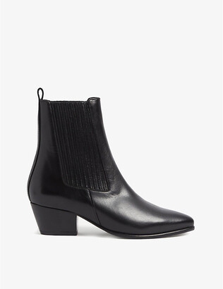 Sandro Almond-toe leather ankle boots