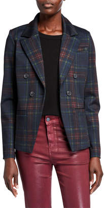 Bagatelle Plaid Double Breasted Ponte Blazer