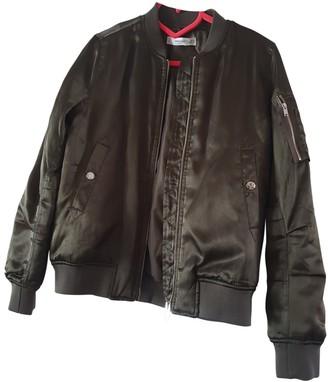 MANGO Khaki Leather Jacket for Women