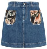 Stella McCartney denim patch pocket tapestry skirt