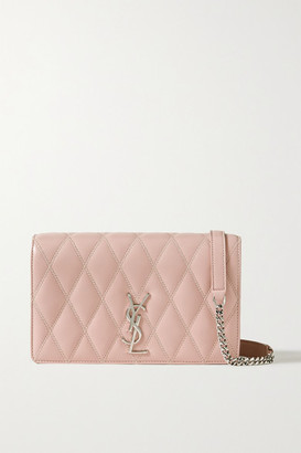 Saint Laurent Angie Quilted Leather Shoulder Bag - Pink