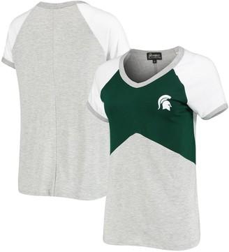 Women's Green Michigan State Spartans Bold Ambition Colorblock V-Neck Raglan T-Shirt