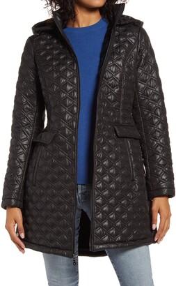 Halogen Hooded Diamond Quilted Coat
