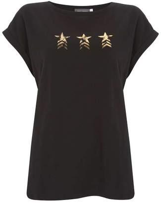 Mint Velvet Black Military Star T-Shirt