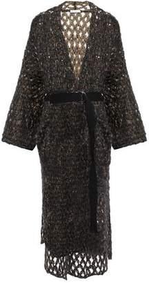 Brunello Cucinelli Belted Sequin-embellished Open-knit Mohair-blend Cardigan