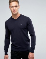 Armani Jeans Jumper With V Neck & Logo In Navy