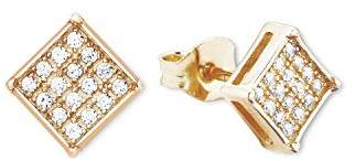 Amor Women's Earrings 925 Silver partially gold-plated Zirconia White 0.6 cm - 9267170