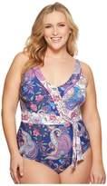 LaBlanca La Blanca - Plus Size Scarf Gypsy Surplice Over the Shoulder Mio Women's Swimsuits One Piece