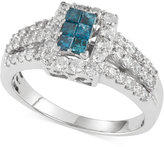 Macy's Blue and White Diamond Ring (1 ct. t.w.) in 10k White Gold