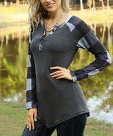 Reborn Collection Women's Tunics Charcoal - Charcoal & Gray Plaid Raglan Top - Women & Plus