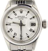 Rolex Date 6516 Stainless Steel With White & Black Roman Dial Vintage Womens Watch