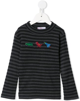 Familiar Car, Dinosaur, And Rocket Embroidered Top