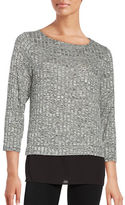 Ivanka Trump Scoopneck Ribbed Layer Sweater