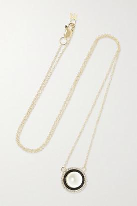 Mateo 14-karat Gold, Pearl, Diamond And Enamel Necklace