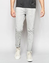 Weekday Friday Skinny Jeans in Stretch Gray Beat Light Wash