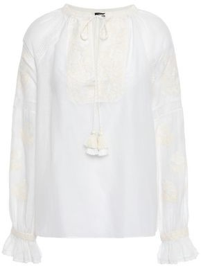 Love Sam Tassel-trimmed Embroidered Cotton-blend Mousseline Blouse