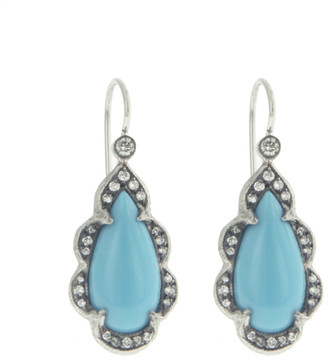 Cathy Waterman Turquoise Arabesque Pear Drop Platinum Earrings