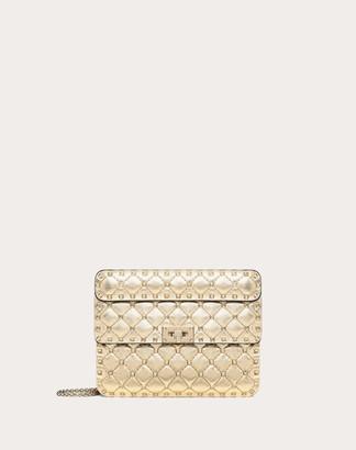 Valentino Medium Metallic Rockstud Spike Bag Women Gold Lambskin 100% OneSize