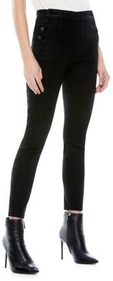 Alice + Olivia Donald High-Rish Coated Skinny Jeans