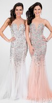 Terani Couture Fitted Illusion Floral Mesh Prom Dress