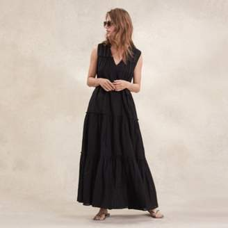 The White Company Cotton Tiered Maxi Dress, Black, 6
