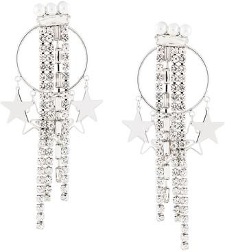 Venna star hoop fringe drop earrings