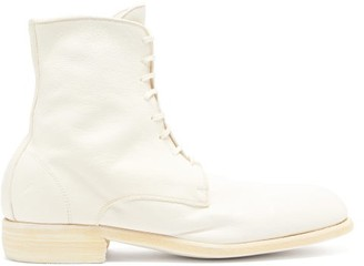 Guidi Grained-leather Lace-up Boots - White