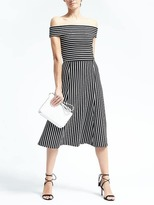 Banana Republic Stripe Off-Shoulder Midi Dress