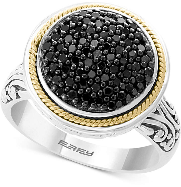 Effy Diamond Round Cluster Filigree Ring (3/8 ct. t.w.) in Sterling Silver and 18k Gold