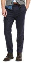 Brunello Cucinelli Chalk-Stripe Flat-Front Trousers, Navy