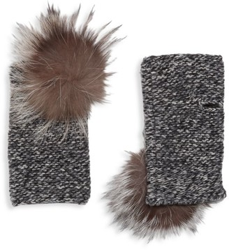 Portolano Fox Fur Pom-Pom Cashmere Arm Warmers