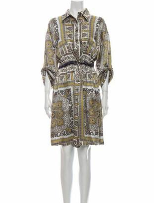 Etro Silk Knee-Length Dress Grey