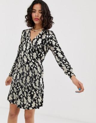 Vero Moda metallic print wrap midi dress