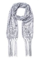 Quiz Grey Sequin Fringe Scarf
