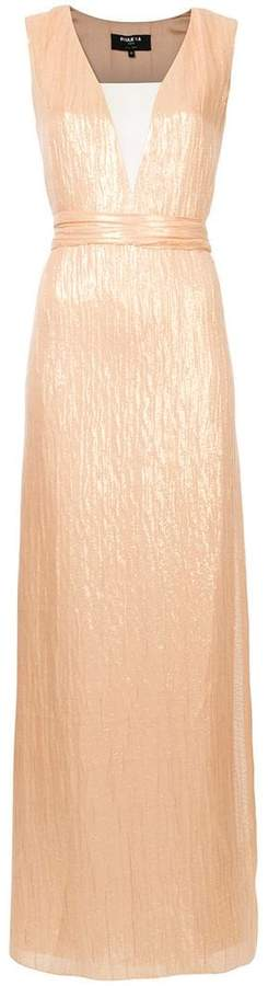 Paule Ka woven plunge column dress