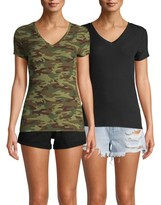 No Boundaries Juniors' Short Sleeve Brushed V-Neck T-Shirt, 2-Pack