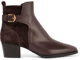 Tod's Leather And Suede Ankle Boots - Dark brown