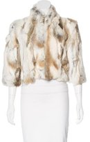 Adrienne Landau Patchwork Rabbit Fur Jacket