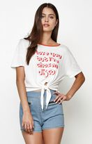 MinkPink Choose Disco Tie Front T-Shirt