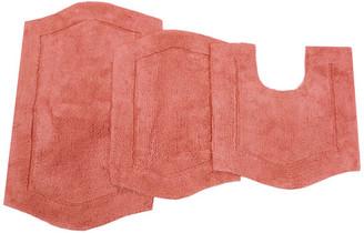 "Home Weavers Inc. Waterford 3 Piece Bath Rug Set 17""x24"" / 21""x34"" / 20""x20"" Coral"